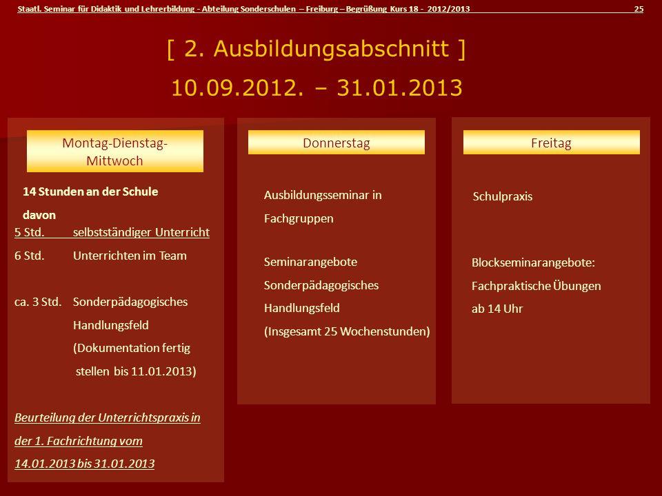 [ 2. Ausbildungsabschnitt ] 10.09.2012. – 31.01.2013